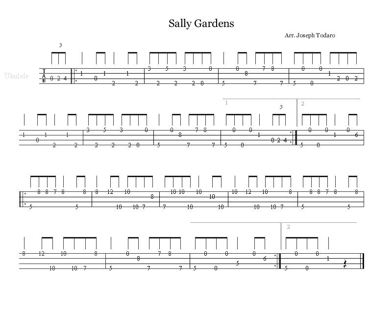 Sally Gardens - for Ukulele