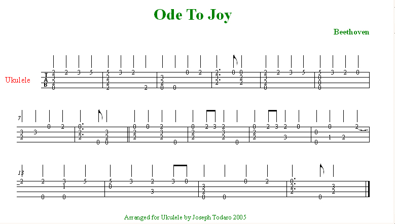 Ode to Joy - for Ukulele